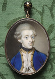 CAPTAIN THE HON. JOHN TOLLEMACHE, RN (1744-1777) by James Scoular (1741-1787), a miniature in oval frame in the Green Closet at Ham House, Richmond-upon-Thames
