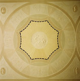 """View of the plaster roundel in the drawing room ceiling at Ardress House depicting """"Aurora in the Chariot of Dawn"""""""
