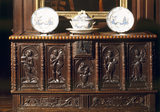 C19th chest in hall, incorporating Flemish carving C1600 at Antony House, Cornwall