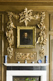 Limewood carving of game birds, peapods and ears of corn in the Marble Hall at Belton House, Lincolnshire, UK, may be by Grinling Gibbons