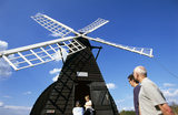 The Wind pump (windmill) with visitors at Wicken fen