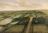 BIRD'S EYE VIEW OF CLANDON by Leendert Knyff (1650-1722) in The Green Damask Room at Clandon Park C/P/37