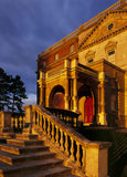 The west front entrance of the House at Clandon, with the setting sun imparting a golden glow