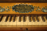 Close view of the keyboard of the Longman square piano c.1800 in the room known as Nadir at Snowshill Manor, Gloucestershire.