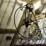 A penny-farthing bicycle, part of the collection of Charles Wade in Hundred Wheels at Snowshill Manor