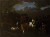 FIGURES, ANIMALS AND WAGGONS CROSSING A FORD by Netherlandish, C17th from Plas Newydd