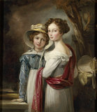 TWO DAUGHTERS OF SIR CHARLES ABRAHAM ELTON 6th Bt, oil on canvas by Thomas Barker of Bath in the State Bedroom at Clevedon Court