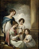 4 DAUGHTERS OF SIR CHARLES ABRAHAM ELTON 6th Bt, oil on canvas by Thomas Barker of Bath, in the State Bedroom at Clevedon Court