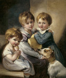 3 CHILDREN OF CHARLES ABRAHAM ELTON 6th Bt, oil on canvas by Thomas Barker of Bath in the State Bedroom at Clevedon Court