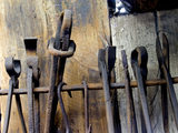A selection of tools on the rack at Finch Foundry in Devon, where hand tools were produced in the C19th and C20th