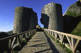 The stone bridge that leads to the SouthWest Gatehouse at Corfe Castle, Wareham, Dorset, UK