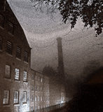 Exterior view of Quarry Bank Mill, Styal taken in black and white with infra-red