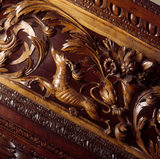 A close up of the balustrade on the magnificent oak staircase, installed by Colonel Francis Luttrell in the 1680's