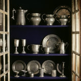 Collection of pewter in the Great Hall at Little Moreton Hall