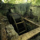 The water wheel near Llanerchaeron House now being restored