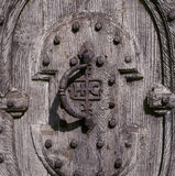 Closeup of a stout studded door at Anglesey Abbey