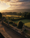 View of the garden at Powis Castle from the top terrace, taken at dawn