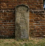 A crumbling mile-stone,South East corner of the Stable Block at Felbrigg