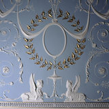 A detail of the elaborate ceiling in the Drawing Room, Attingham Park