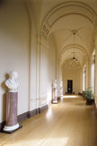 Room view of the West Corridor at Ickworth showing bust on porp- hyry scagliola columns of the 1st Marquess of Bristol by Behnes, William Pitt by Nollekens & 2nd Earl of Liverpool by Hardenburgh