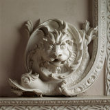 Detail of Lion's Head and Dolphin motif at the corner of the carved window surround by lightfoot in The Great Red Room