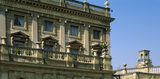 View of top of one corner and balustrades on the house and top of the clock tower, Cliveden, Buckinghamshire