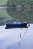 Close-up view of a boat by the Boathouse on the River Dart with reflections of the boat and trees in the still water