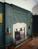 The fireplace in the dining room at Standen
