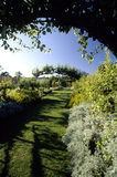View of flower borders and pergola in the gardens at Beningbrough Hall, Yorkshire