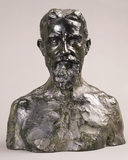 Close-up of the Rodin bust in the Drawing Room at Shaw's Corner