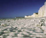 View west over the chalk beach at Birling Gap, East Sussex