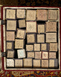 Detail of pianola rolls in box, in the Drawing Room at Sunnycroft