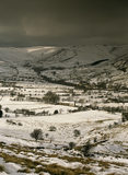 View across the landscape at Edale from the Mam Nick Road under snow