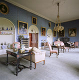 The Drawing Room at Sizergh Castle showing alcoves containing a collection of glass, late 18th century English china and pottery