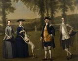 PURPORTED TREVELYAN CONVERSATION PIECE, English School 1745-50 from Wallington