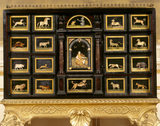 Detail of Florentine cabinet with Pietra Dura decoration showing the mythical musician Orpheus surrounded by animals, c 1650