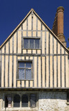 Detail of windows and half-timbering on the South Front at Ightham Mote, Sevenoaks, Kent