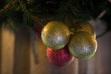 Baubles decorating the Christmas fair at Lacock Abbey, near Chippenham, Wiltshire