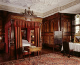 The Inlaid Chamber at Sizergh Castle showing inlaid state bed, and inlaid panelling installed between 1573 and 1582