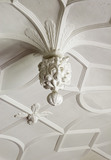 Jacobean plasterwork ceiling depicting an acanthus frond in the Music Room at Westwood Manor, near Bradford-on-Avon, Wiltshire