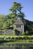 The Apple House from across the moat at the fifteenth-century Great Chalfield Manor, Wiltshire