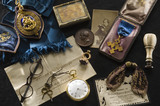 Disraeli memorabilia, including spectacles, medals, photographs and a watch, in the Disraeli Room at Hughenden Manor, Buckinghamshire, home of prime minister Benjamin Disraeli between 1848 and 1881