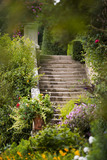 The beautifully planted and overgrown garden steps to the Terrace at Powis Castle & Garden, Welshpool, Powys, Wales