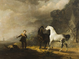 HORSES IN A LANDSCAPE by Sawrey Gilpin (1733-1807),  on the Staircase in the new house at Scotney Castle, Kent