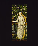 Spring, one of four stained glass panels in the inglenook fireplace in the Dining Room, designed by William Morris, dated 1873