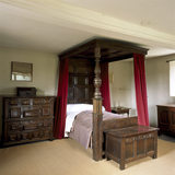 Room view of the Bedchamber at Woolsthorpe Manor showing the oak four-post bed of 1713 and mid-17th century coffered chest of drawers; Isaac Newton was supposedly born here on 25/12/1642