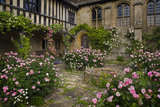 Roses scramble along the building and around the well in the Inner Court at the fifteenth-century Great Chalfield Manor, Wiltshire