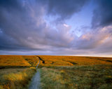Close view of the Pennine Way path at Standedge on Marsden Moor showing cracks in the Moss beyond, seen under a stormy sky with the sun under dark clouds