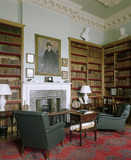 Library at Florence Court with an Irish writing table by the fireplace