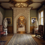 The doorway to the Dining room with the elaborate carved decorations devised by Henry Woodyer